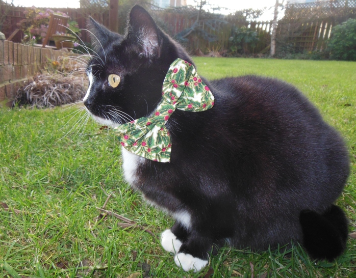 Christmas Bow Tie Cat Collar Holly Design